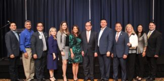"""Pictured are Edinburg Chamber and City of Edinburg officials at a Chamber Public Affairs Luncheon (PAL) in early 2018. The next Edinburg Chamber PAL is scheduled for Wednesday September 19, 2018 at the Edinburg Conference Center at Renaissance will feature and Edinburg CISD Candidate Forum. Left to Right: Jorge """"Coach"""" Salinas (City of Edinburg- Councilman), David Torres (City of Edinburg- Mayor Pro Tem) , Mario Lizcano (Doctors Hospital at Renaissance- Edinburg Chamber Director), Letty Gonzalez (Edinburg Chamber- President), Jennifer Garza (Edinburg Chamber Chair- Elect), Veronica Gonzalez (UTRGV- Edinburg Chamber Vice Chair), Dr. John Krouse (UTRGV School of Medicine Dean), Mayor Richard Molina (City of Edinburg- Edinburg Chamber Vice Chair), Alex Rios( Kids' Kollege Learning Center- Edinburg Chamber Chairman of the Board), Elva Jackson Garza (Edwards Abstract and Title Co.- Edinburg Chamber Director), Dina Araguz (IBC- Edinburg Chamber Director) and Jacob Deleon (Memorial Funeral Home- Edinburg Chamber Past Chair) ."""