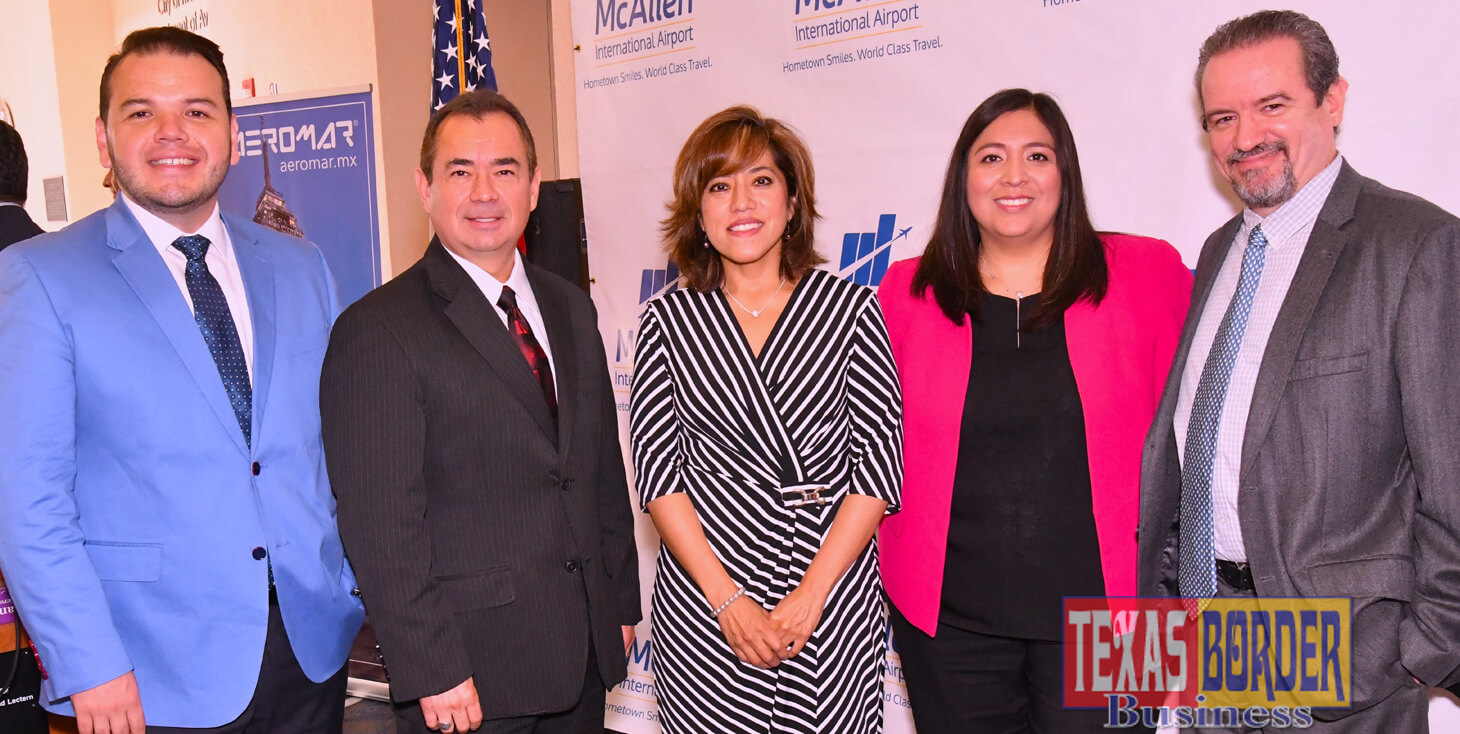 Pictured from L-R: Martin Cobian, Regional Manager for Aeromar; Roy Rodriguez, McAllen City Manager; Adscript Consul of Mexico Cónsul Adscripta Socorro Guadalupe Jorge Cholula; Liz Suarez, Director of Aviation of the McAllen-Miller International Airport and Fabricio Cojuc Wolfowitz, M.A.A. Executive Director of Strategy. Photo Roberto Hugo Gonzalez.