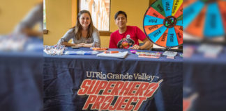 The UTRGV Superhero Project, aimed at creating a safer campus, has been given the Best Practices/Institutional Impact Award from the National Behavioral Intervention Team Association. The project is an active bystander program designed to encourage students to look out for one another. To help spread the word, peer leaders – like Ceilhy Garcia and Mario Flores, shown here – make presentations to groups, host events, partner with other UTRGV departments and participate in events hosted by other organizations. (UTRGV Photo by David Pike)