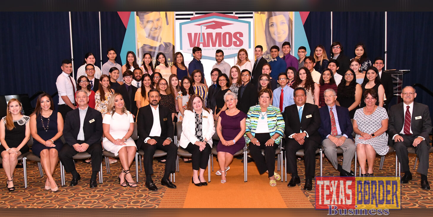 Pictured are VAMOS president Johnny Oliva; Sonia Falcon, former president and board member; Judge Linda Yañez, keynote speaker. Also attending Yoli Cantu and in the background are scholarship recipients at the VAMOS 22nd Annual Scholarship Banquet at the Edinburg Conference Center at Renaissance. $1.4 million was awarded to 85 students for a four-year higher education degree. Photo by Roberto Hugo Gonzalez