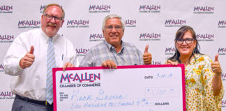Pictured from L-R: Steve Ahlenius, President and CEO of the Mcallen Chamber of Commerce; Rick Guerra, Tony Romas and Blanca Cardenas, VP Membership Services at McAllen Chamber. Courtesy photo