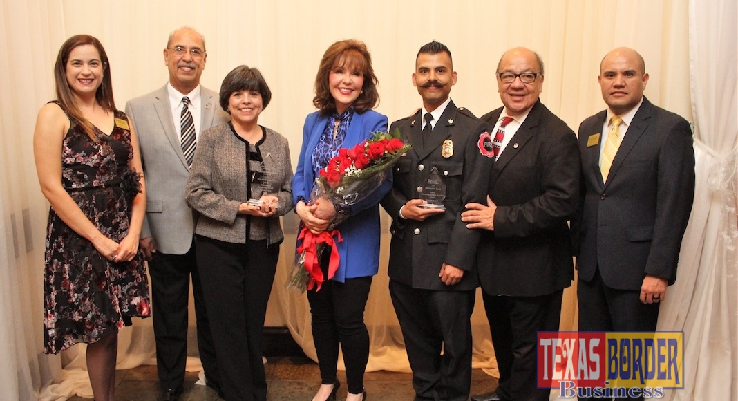 Pictured left to right: Jennifer Garza (Edinburg Chamber President of the Board- Superior Health Plan), Bay Rex (St. Vincent De Paul- Leadership Award Recipient), Thelma Rex (St. Vincent De Paul- Leadership Award Recipient), Janet Vackar (Bert Ogden Auto Group- 2018 Edinburg Woman of the Year), Michael Luna (Edinburg Volunteer Firefighter of the Year), Agustin Lozano Jr. (Bert Ogden Auto Group- Ambassador of the Year) and Ronnie Larralde (Edinburg Chamber of Commerce- Interim Executive Director). Not pictured is Robert Vackar (Bert Ogden Auto Group- 2018 Edinburg Man of the Year). The Edinburg Chamber of Commerce 86th annual awards banquet was held Friday, November 9th at The Social Club in Edinburg.