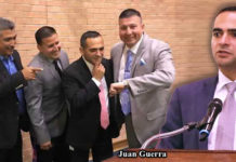 Immediately after being appointed Juan Guerra new city manager and city fathers proceeded to celebrate city commission meeting which ended in a record time of two hours. (Photo Facebook) Pictured in the right: Juan Guerra, Edinburg City Manager. Courtesy Photo.