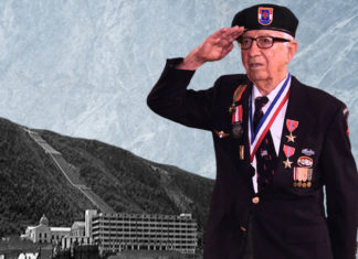 Vermork Hydroelectric Plant in Norway was destroyed; an allied victory. Eugene Gutierrez Jr. and the plant, a photo composition for illustration purposes. Photo of the plant courtesy Wikipedia. Photo of Mr. Gutierrez by Roberto Hugo Gonzalez