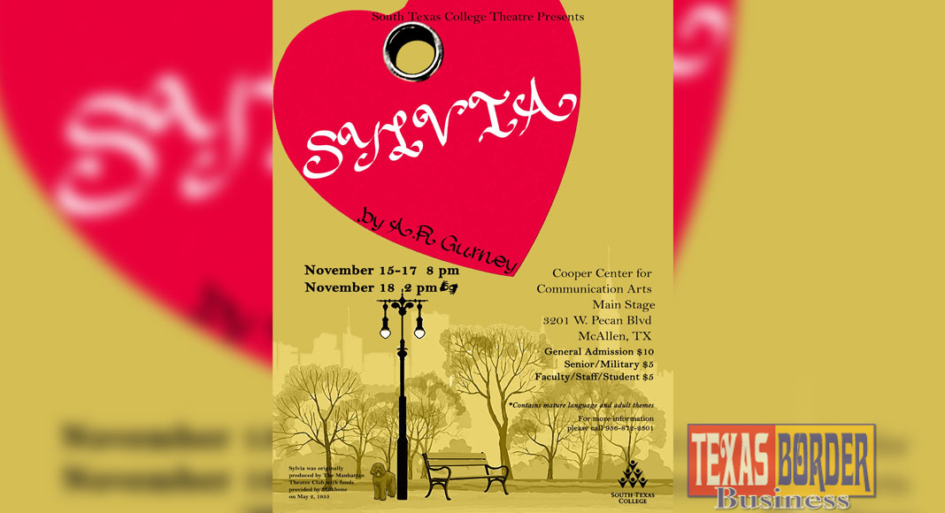Poster for A. R. Gurney's play Sylvia, presented by South Texas College Theatre.