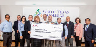 South Texas College together with the Economic Development Corporation of Weslaco hosted a check presentation to provide customized training for small businesses in retail, manufacturing, and logistics.