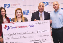 Pictured from L-R: Cynthia Garcia, Director of Grants and Resource Development at AHSTI; Lisa Cantu, Vice President – Business Development Officer at Texas Community Bank; Roger Moreno, Texas Community Bank Executive Vice President, and Bobby Calvillo, President of Affordable Homes of South Texas, Inc. Photo by Roberto Hugo Gonzalez