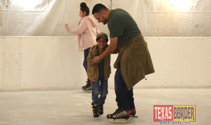 Families and children of all ages had fun in the ice skating rink.