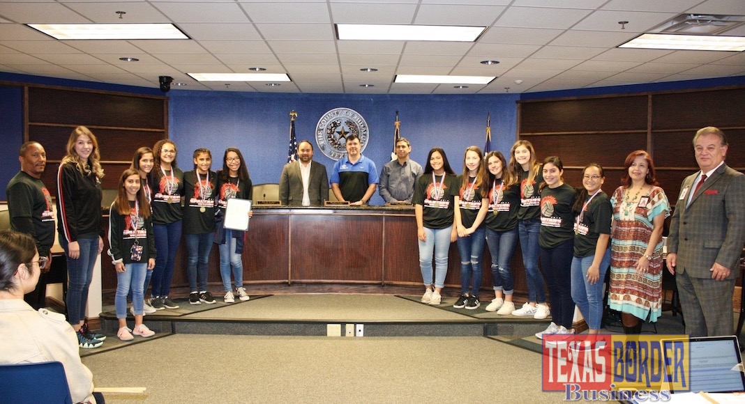 Commissioners Court honored the Lady Spartans volleyball team for bringing home the state championship trophy, a first for South Texas Preparatory Academy.
