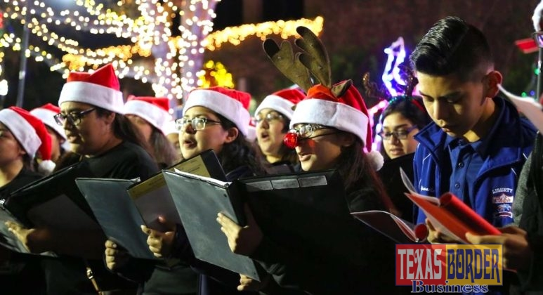 Students sing Christmas Carols to the community.