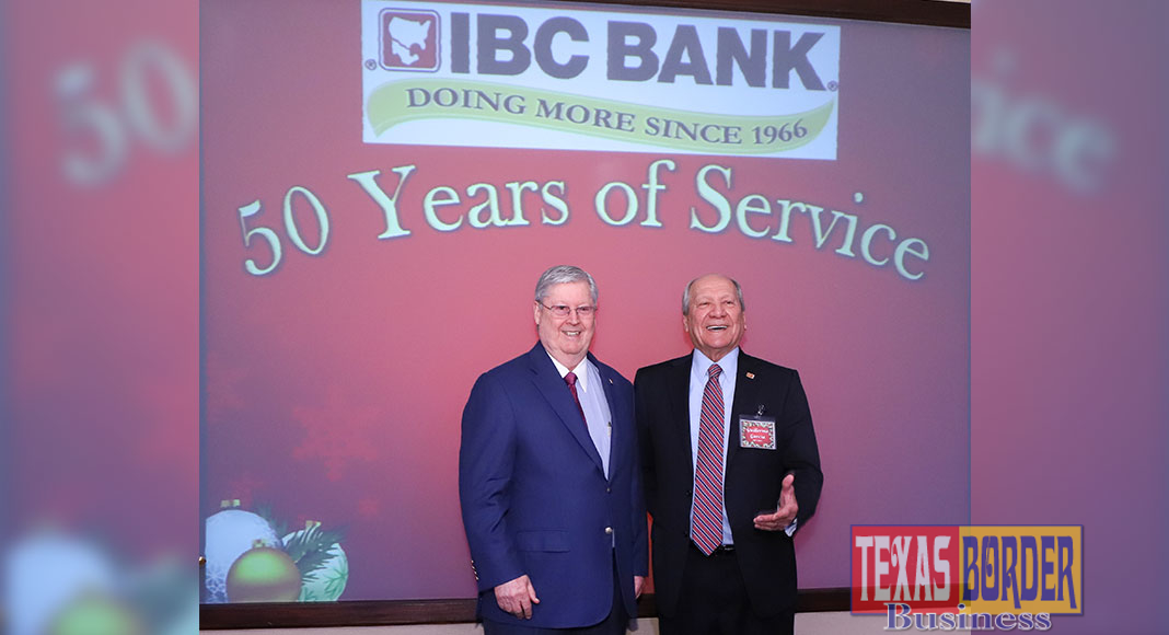 Pictured above, Dennis E. Nixon IBC Bank Chairman and Guillermo R. Garcia Executive Vice President.