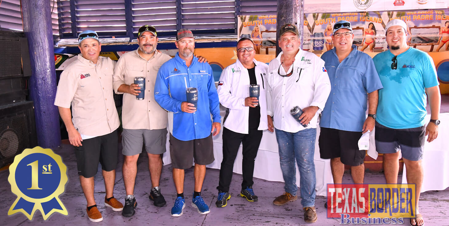 Pictured above, from L-R: Rene Capistran, Noble; Aaron Leyva, Limon Masonry; Mike Knox, Guide; Rolando Limon, Limon Masonry; Paul Ross, Limon Masonry; Julian Lopez, Noble and Alfredo Garcia, also from Noble. The group holding Yeti Cups were the winner of $1600 for the 1st Place. They participated in the 2nd Annual Fishing Tournament held on October 12th and 13th at South Padre Island. This event also raises funds to exclusively promote the wellbeing of non-profit organizations throughout the Rio Grande Valley.