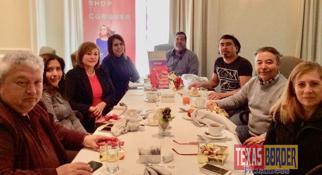Casa McAllen Director Silvia Garza, third from left, hosted a group of Mont5errey media representatives for a breakfast meeting recently.