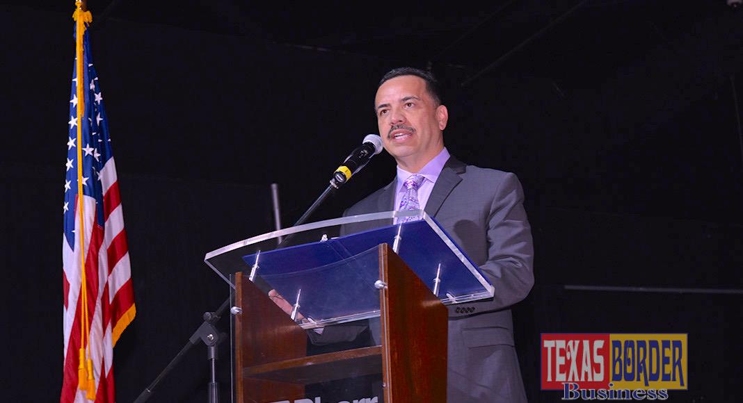 Pharr Mayor Ambrosio Hernandez, MD, as he addresses the Energy Summit attendees. Photo Roberto Hugo Gonzalez