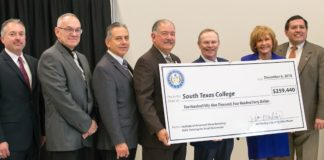 The Economic Development Corporation of McAllen presented South Texas College with a job-training grant to provide customized training related to advanced manufacturing within the city's boundaries.