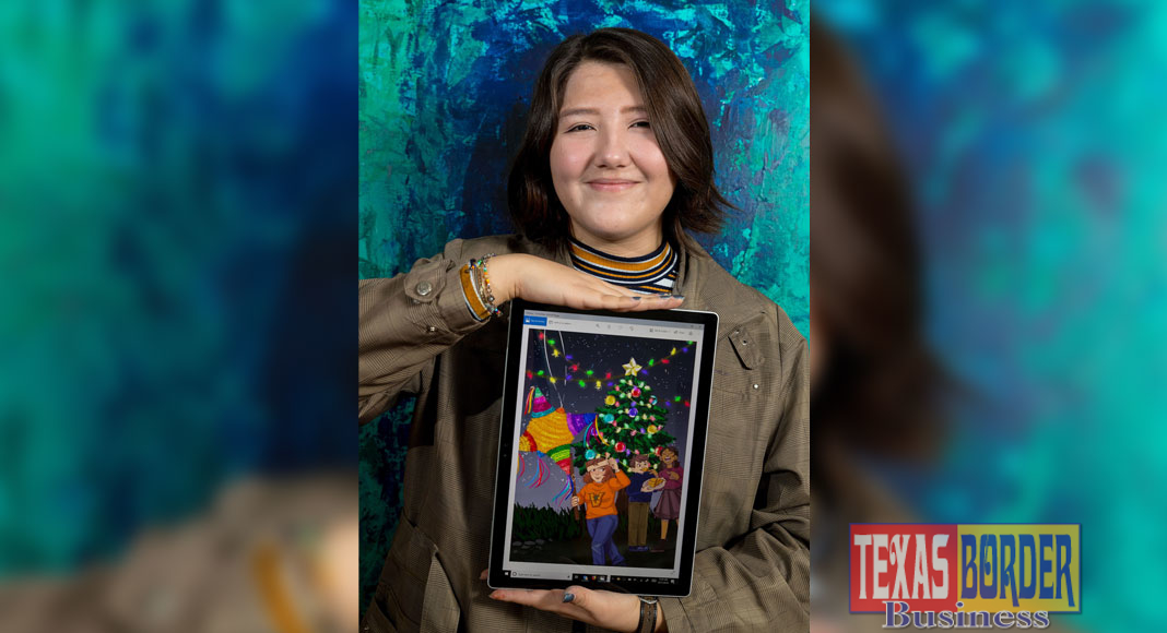 UTRGV sophomore Ashley Garcia, of Brownsville, captured first place in the annual President's Holiday Card Contest. Garcia, 19, a graphic design major, designed the official 2018 UTRGV winter holiday card and earned bragging rights and a $1,000 scholarship. Garcia's card will be shared with UTRGV faculty and staff, donors, friends of the university and elected officials across the state and country. (UTRGV Photo by David Pike)