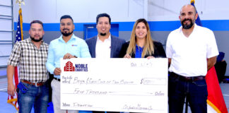 Pictured above from L-R: Johnny Martinez Superintendent; Jose Castro Project Manager; Alfredo Garcia, Vice President Noble Texas Construction and San Benito Boys & Girls Club board member; Liz Chavez, San Benito Boys & Girls Club Board President, and Eric Delgado Project Manager. The check is a $5,000 donation from Noble Texas Builders to benefit the San Benito Boys & Girls Club. Photo by Roberto Hugo Gonzalez