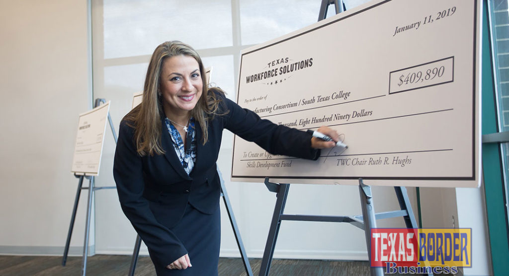 Ruth Hughs, chair of Texas Workforce Commission signed three grants totaling more than $1.3 million to South Texas College on Jan. 11, 2019.