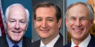 U.S. Senators John Cornyn (R-TX), Ted Cruz (R-TX), and Texas Governor Greg Abbott.