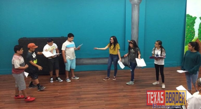 An ensemble of children during a recent rehearsal at Pharr Community Theater learn about acting.