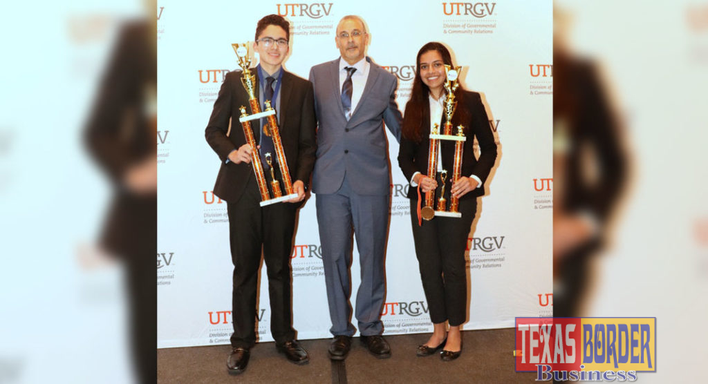 The top three winners in the senior division at the RGV Regional Science and Engineering Fair will represent the region at the Intel International Science & Engineering Fair, May 12-17, in Phoenix, Arizona. Pictured left to right: Pablo Vidal, Grand Champion, UTRGV Mathematics & Science Academy; Dr. Mahmoud Quweider, UTRGV associate dean of Outreach and Online Programs, College of Engineering and Computer Sciences; and Samya Ahsan, first runner-up, UTRGV Mathematics & Science Academy. Not pictured is Valeria Stevens, second runner-up, McAllen High School. (Courtesy Photo)