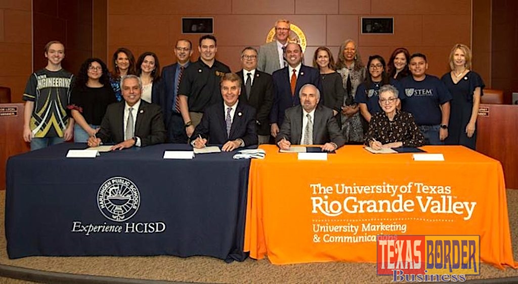 The University of Texas Rio Grande Valley, the City of Harlingen and Harlingen Consolidated Independent School District announced on Thursday, Feb. 28, the opening of a new UTRGV/Early College High School (ECHS) campus in Harlingen. With this new project, ECHS students graduate high school with their academic core or are on a fast track toward careers in engineering, computer science and teaching. Sitting left to right are Dr. Arturo J. Cavazos, Harlingen CISD superintendent; Greg Powers, Harlingen CISD Board of Trustees president; Dr. Guy Bailey, UTRGV president; and Dr. Patricia M. Alvarez McHatton, UTRGV executive vice president for Academic Affairs, Student Success and P-16 Integration. (UTRGV Photo by David Pike)