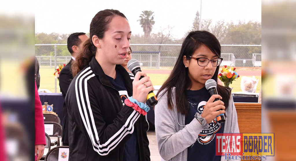 Isabella Hetzel and Valeria Cruz, Memorial MS Students, sang  the National anthem.