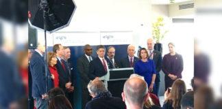 Rep. Filemon Vela with Speaker Nancy Pelosi at the NATO Parliamentary Assembly.
