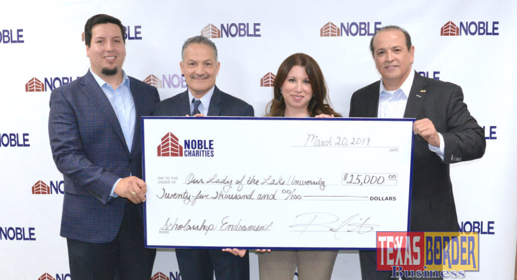 Dr. Patricia Blanco, Director of the Our Lady of the Lake University of La Feria, Texas, received a check donation for $25,000 from Noble Charities Foundation. The funds will benefit La Feria students attending this university.     Photo by Roberto Hugo Gonzalez