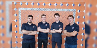 The UTRGV Chess Team successfully defended its title as national champions of the President's Cup this weekend in New York City defeating six-time champion Webster University, as well as UT Dallas and Harvard University. From left to right are members of the championship team: GM Hovhannes Gabuzyan, GM Vladmir Belous, GMM Kamil Dragun, GM Andrey Stukopin.(UTRGV Photo by David Pike.)