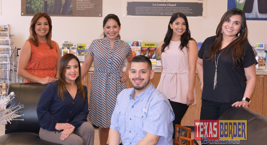 From L-R: standing:Esmer Stone, Brenda Enriquez, Nayeli Zenteno, and Jennifer Espinoza.  Seated: Zayda Pacheco, and CJ Sanchez. They are the staff that runs the Mission Chamber of Commerce. Photo By Roberto Hugo Gonzalez