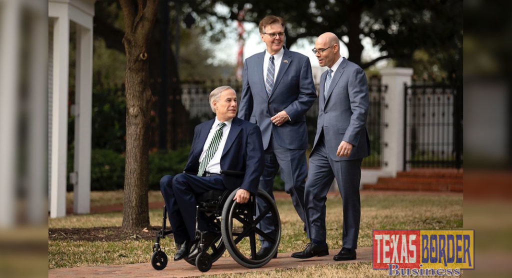 Gov. Greg Abbott, Lt. Gov. Dan Patrick and House Speaker Dennis Bonnen at a joint press conference held at the Governor's Mansion on Jan. 9, 2019.  Photo by Miguel Gutierrez Jr./ The Texas Tribune