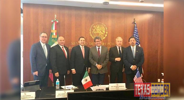 Pictured from left to right (bottom photo): Chargé d'Affaires John S. Creamer, Congressman Louis Correa, Congressman Henry Cuellar, Senator Ricardo Monreal Ávila, Senator Héctor Vasconcelos, and Senator Napoleón Gómez Urrutia.