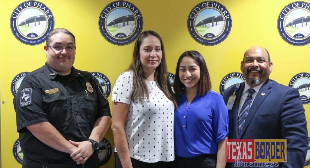 (L to R): Kennith Ennis, Pharr Communications Supervisor, Mrs. Rocha (Evelyn's mom), Evelyn Rocha, and Danny Ramirez, Pharr Communications Director/Deputy EMC.