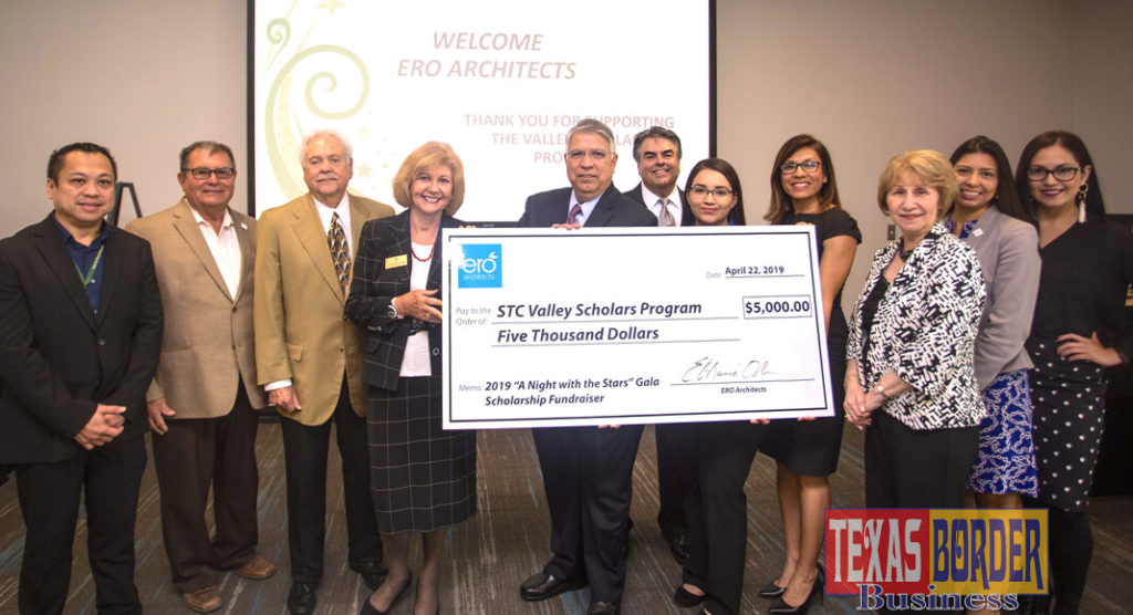 Representatives from ERO Architects and South Texas College came together for a check presentation on April 22. Funds will benefit Valley Scholar students.