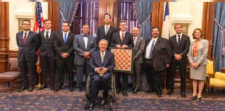 The UTRGV Chess Team – back-to-back national champions in the Final Four of Collegiate Chess – took a triumphal mini tour of Austin on May 22 to accept kudos, resolutions and proclamations from Gov. Greg Abbott, the House and the Senate, and the UT Board of Regents. The UTRGV Vaqueros successfully defended their national title at the President's Cup in April in New York City, again defeating five-time champion Webster University, along with Harvard University and UT Dallas. (UTRGV Photo by David Pike)