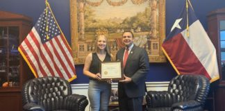 Congressman Cuellar presents Leslie Hartman, winner of the Congressional Art Competition for District 28, with a Congressional Certificate of Recognition at his office in Washington, D.C., Monday.