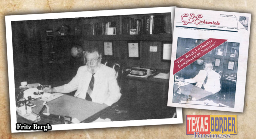 Fritz Bergh is a resourceful man with vast knowledge in communications. He has managed to build the highest communication tower in the country, in the Valley of Texas. Fritz Co-owns Rio Radio Supply Co. in McAllen. Photo by Roberto Hugo Gonzalez Dec. 1985. And the front cover of CBS Chronicle newspaper that I published during the eighties. My editions were in Spanish, and at that time, Mr. Fritz Bergh accepted my invitation to be interviewed.