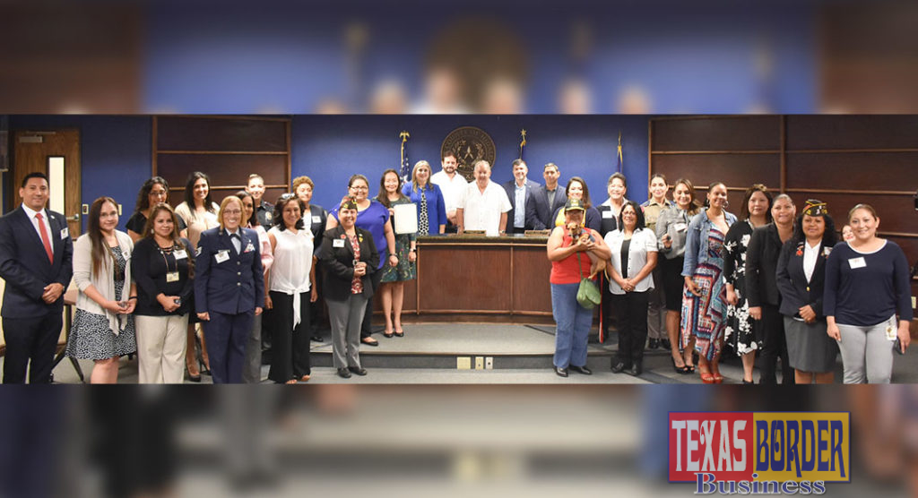 Women veterans are pictured with the Hidalgo County Commissioners Court following adoption of a proclamation declaring June 12, 2019 as Women Veterans Day in Texas.