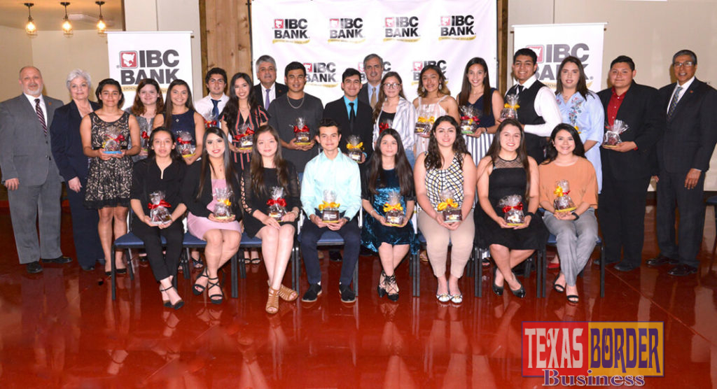 Group photo of the recipients of a scholarship award. Adrian Villarreal, President and CEO of IBC Bank McAllen region was present during the ceremony. Photo by Roberto Hugo Gonzalez