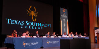The Texas Southmost College Board of Trustees voted to lower the college's tuition and fees at a regular meeting on June 27, 2019 at the TSC Performing Arts Center in Brownsville. From left, TSC Trustee Eva Alejandro, Trustee J.J. De Leon Jr., TSC President Jesús Roberto Rodríguez, Ph.D., TSC Board Vice Chair Trey Mendez, TSC Board Chair Adela G. Garza, TSC Board Secretary Ruben Herrera, Trustee Tony Zavaleta, Ph.D., and Trustee Art Renton.