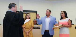 "Marco ""Markie"" Villegas is sworn into office as Commissioner, Place 5, by Hidalgo County 92nd District Judge Luis Manuel Singleterry."