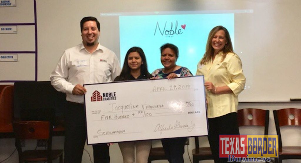 Pictured from left to right, Alfredo Garcia, Director of Operations at Noble Texas Builders and a member of the advisory board for IDEA Alamo STEAM, student Jacqueline Villanueva, and her mom Rosalinda Villanueva holding the scholarship check, and Christine Blouch, Noble Charities Director. Courtesy photo