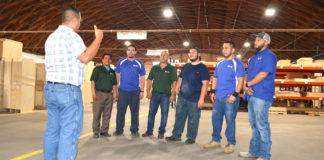 Kapal Cabinet House employees reviewing OSHA training. Pictured left to right: Edgar Meza, Gerardo Mendoza, Oscar Cedillo, Rodrick Anzaldua, Pablo Garza, David Peralez, presenter, and Fernando Martinez.