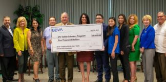BBVA presented a $5,000 donation to the Valley Scholars Program at the regular meeting for the South Texas College Board of Trustees on July 23.