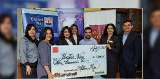 Pictured L-R: Kay Garza, Wells Fargo Bank Branch Manager; Laura Robles, McAllen Chamber of Commerce Latina Hope Representative; Lilly Lopez-Killelea – United Way of South Texas President; Yolanda Gonzalez - Wells Fargo Bank District Manager; Jorge Sanchez - McAllen Chamber of Commerce Latina Hope Representative; Alma Ortega-Johnson - Wells Fargo Bank Region Bank President, and Andy Bravo, Wells Fargo Bank Sr. Business Relationship Manager.