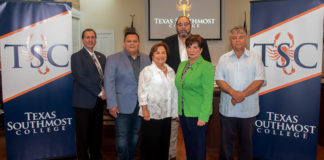 Delia Saenz was appointed to fill the vacant Place 4 position on the Texas Southmost College Board of Trustees on Aug. 1, 2019 during a special meeting held at the Gorgas Board Room at TSC in Brownsville. From left, TSC President Jesús Roberto Rodriguez, TSC Trustees J.J. de Leon Jr., Saenz, Dr. Tony Zavaleta, TSC Board Chair Adela G. Garza and TSC Board Vice Chair Ruben Herrera.