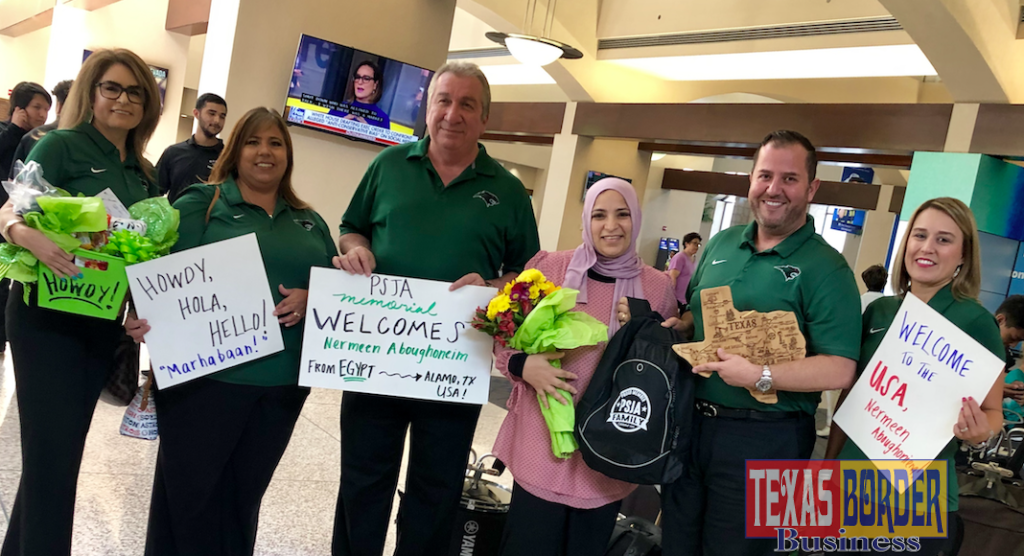 PSJA Memorial ECHS students and staff welcomed their new Arabic teacher Nermeen Aboughoneim from Egypt when she arrived at the McAllen International Airport on August 8, 2019.