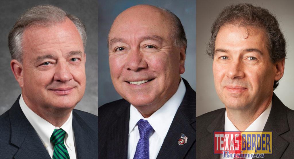 "Texas A&M University System Chancellor John Sharp, Senator Juan ""Chuy"" Hinojosa and Texas A&M AgriLife Vice Chancellor and Dean Patrick Stover"