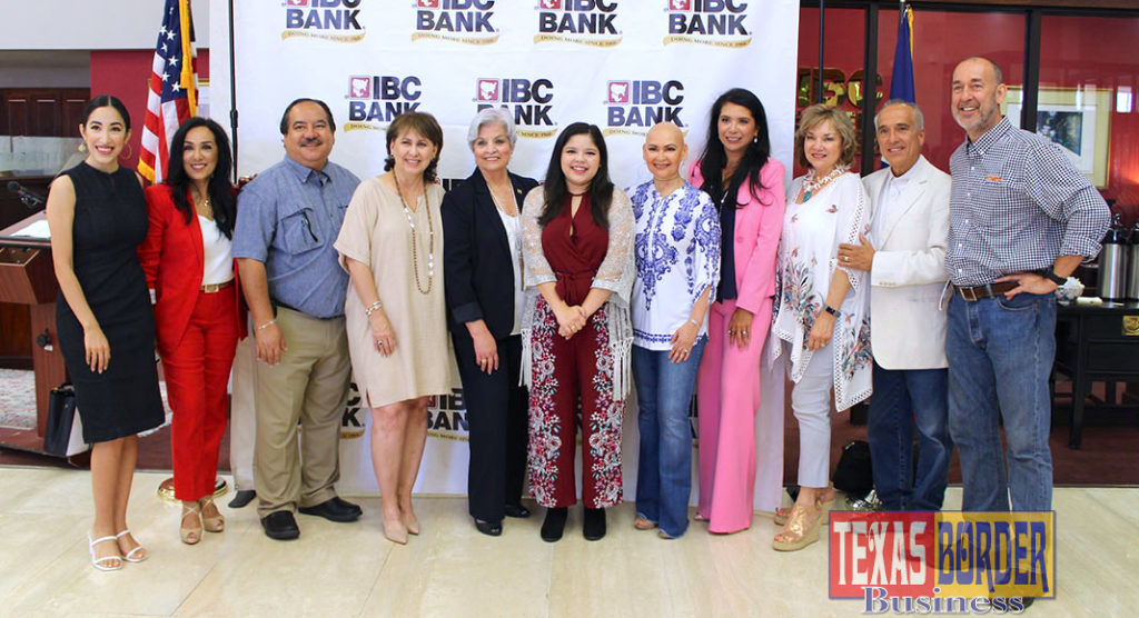 """Pictured above is Sabrina Dominguez, alongside IBC Bank Senior Vice President Dora Brown, IBC Bank-McAllen employees and partners during her """"Thank You Tour"""" stop at McAllen."""
